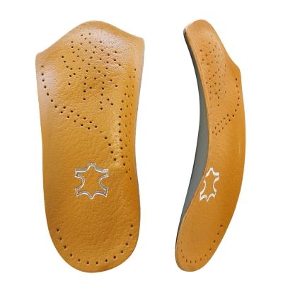 足的美形 透氣超纖皮足弓7分墊  咖(2雙)