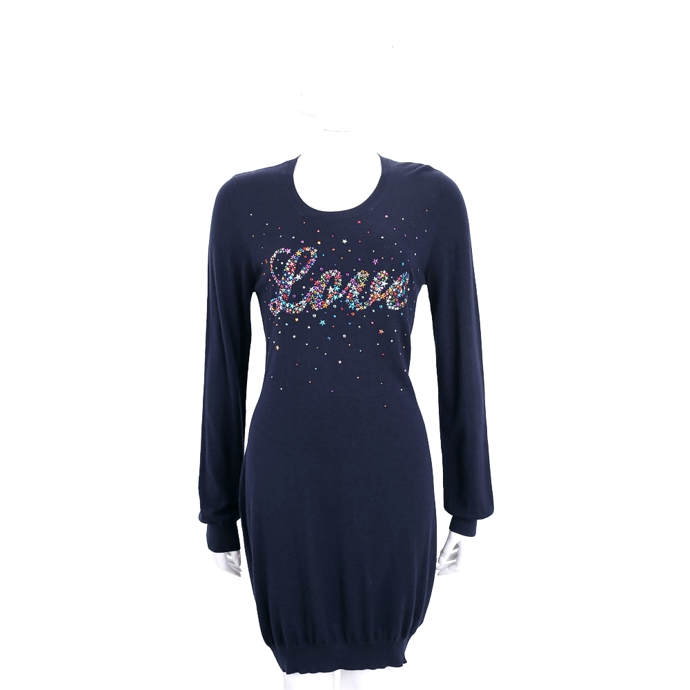 LOVE MOSCHINO 深藍色繽紛星星長袖洋裝