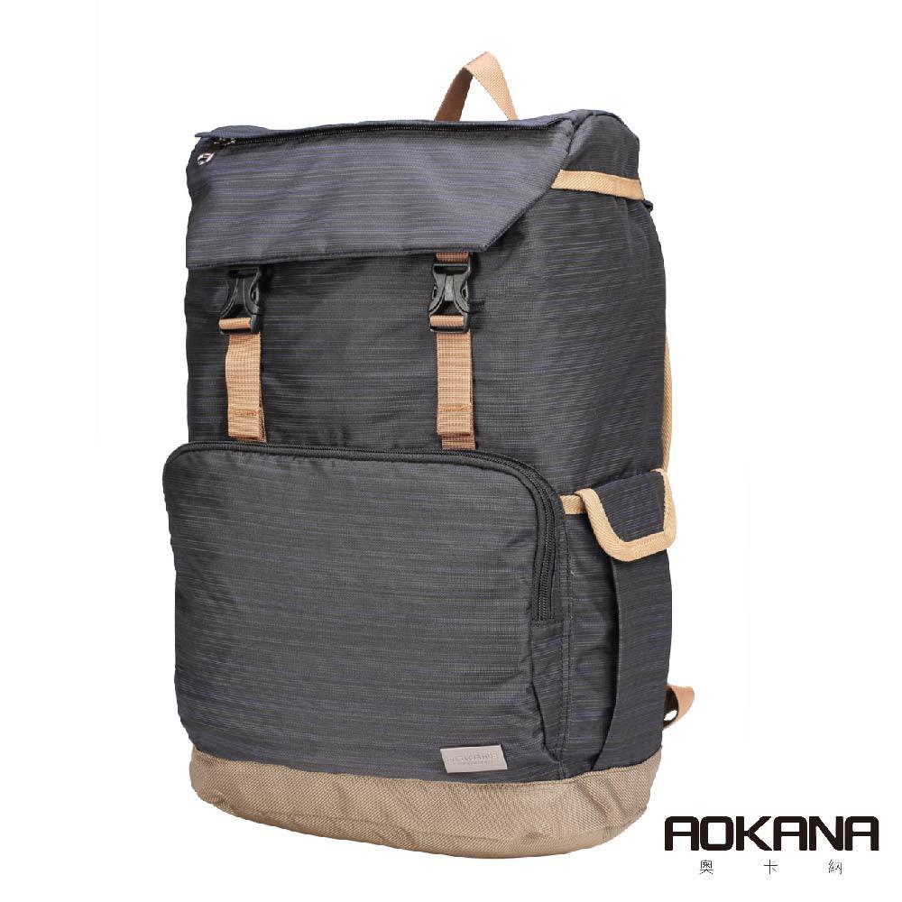 AOKANA奧卡納 輕量防潑水護脊電腦商務後背包(神秘黑)68-092