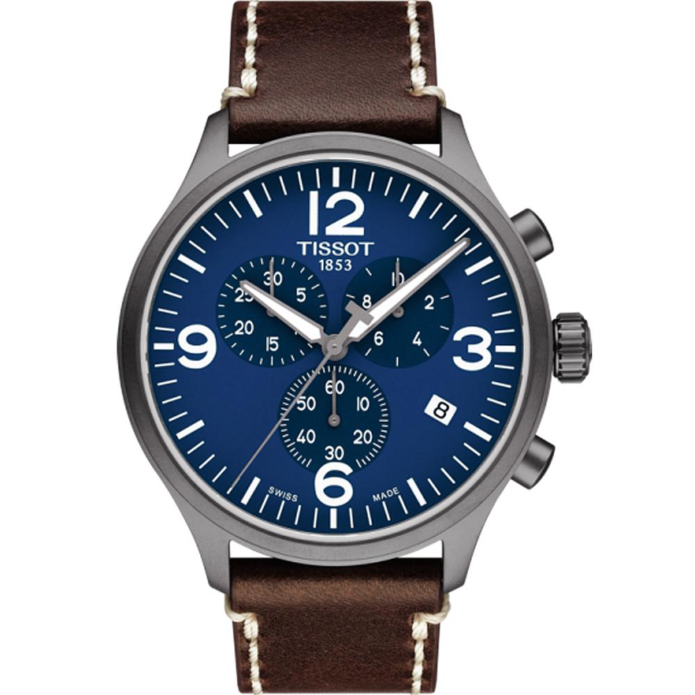 TISSOT天梭 韻馳系列 Chrono XL 計時時尚腕錶-藍色x咖啡色/45mm