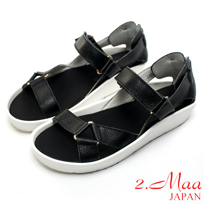 2.Maa 真皮系列-特色荔枝紋牛皮x獨特三角環設計休閒涼鞋-深黑