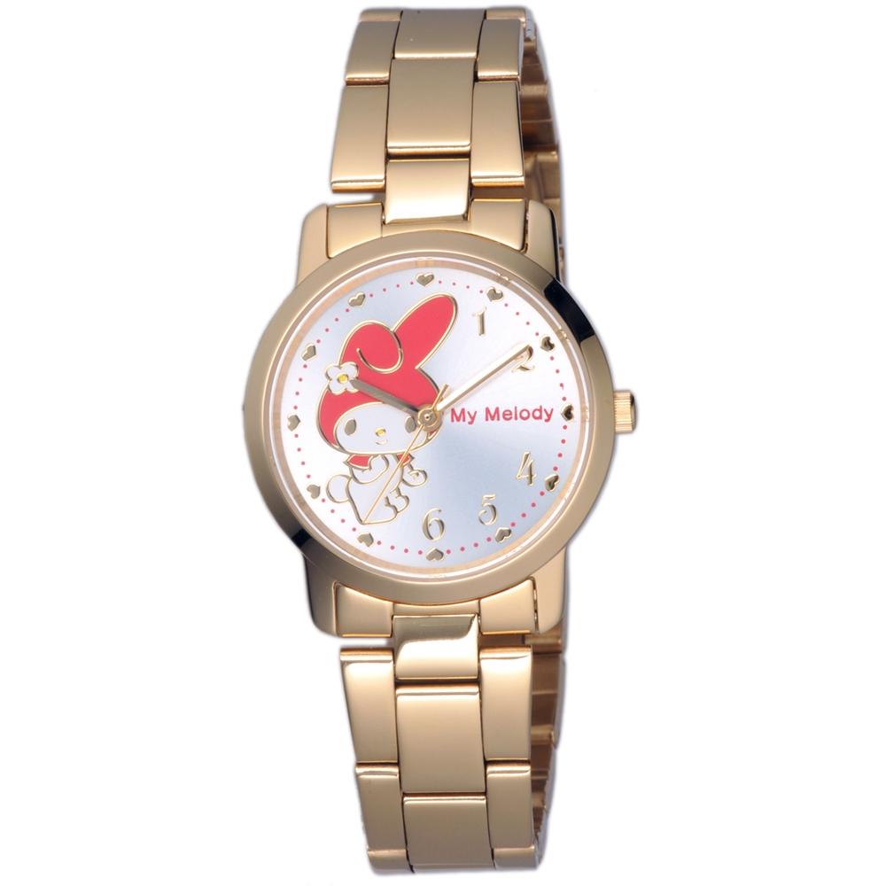 HELLO KITTY 美樂蒂愛心俏麗優質手錶-金x銀白/30mm