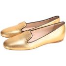 PRADA Saffiano 防刮小牛皮平底鞋(金色)
