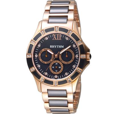 麗聲錶 RHYTHM 優雅甜美陶瓷錶(F1201T05)黑/38mm