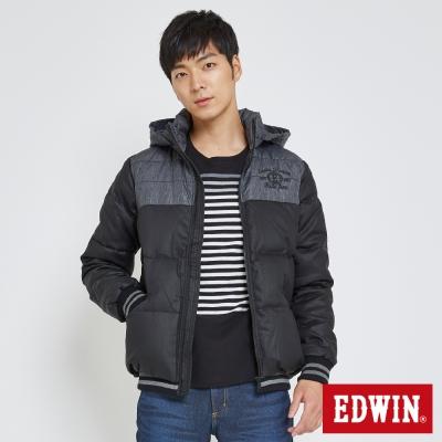 EDWIN 牛仔拼接連帽羽絨外套-男-黑色