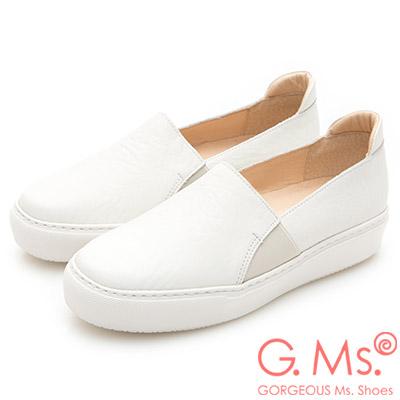 G.Ms. MIT系列-百搭Q彈牛皮素面顯瘦厚底懶人鞋-白色