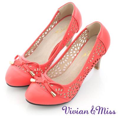 Vivian-miss幾何甜美-絢麗縷空造型平穩高跟鞋-桃