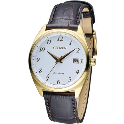 CITIZEN 光動能優雅時尚腕錶(EO1172-05A)-白x金框/35mm