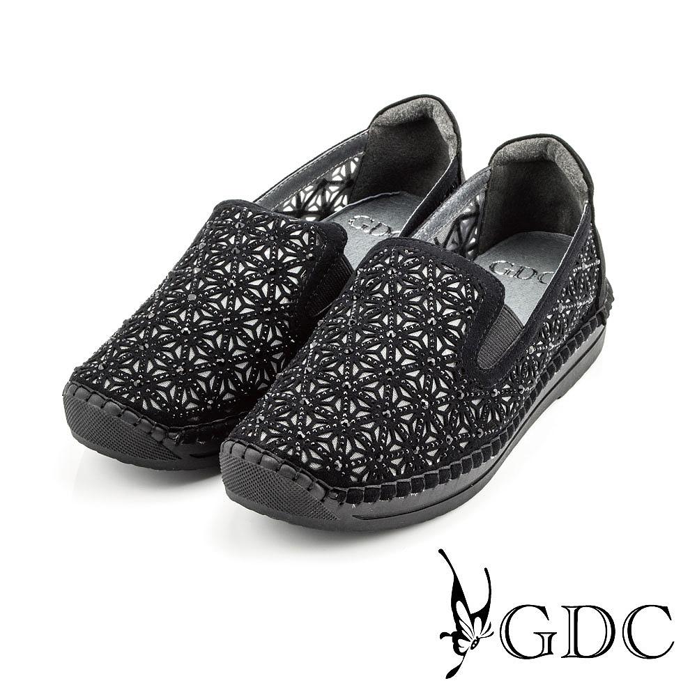 GDC-三角水鑽縷空網裡懶人休閒鞋-黑色