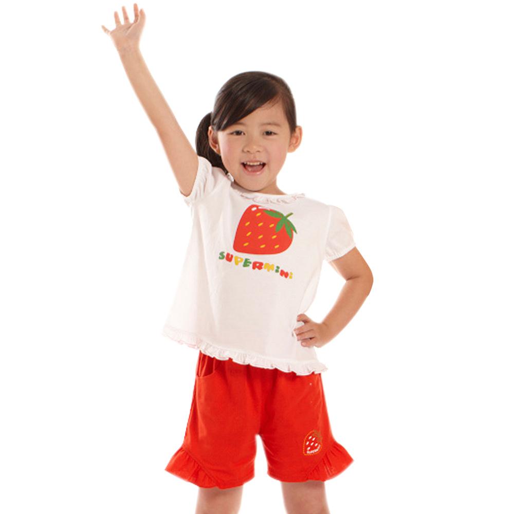 愛的世界 SUPERMINI 純棉荷葉領草莓印圖T恤/1~3歲