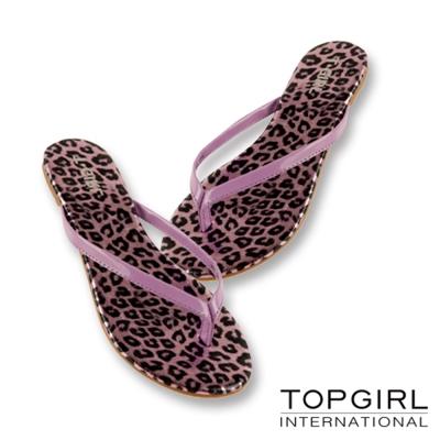 TOP GIRL-亮感豹紋夾腳拖鞋-紫豹紋