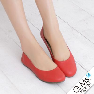 【G.Ms.】旅行女孩II‧素面全真皮可攜式軟Q娃娃鞋(附專屬鞋袋) ‧ 紅色