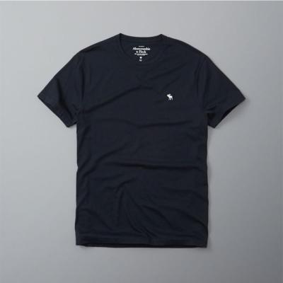 A&F經典電繡麋鹿圓領短袖T恤-深藍色AF Abercrombie