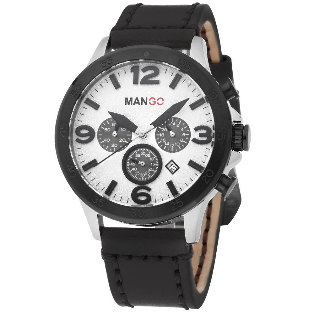MANGO HOMME 雅痞復古軍式時尚腕錶-白x黑/46mm