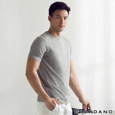 GIORDANO-男裝G-COOL涼感吸濕排汗圓領TEE-03-中花灰