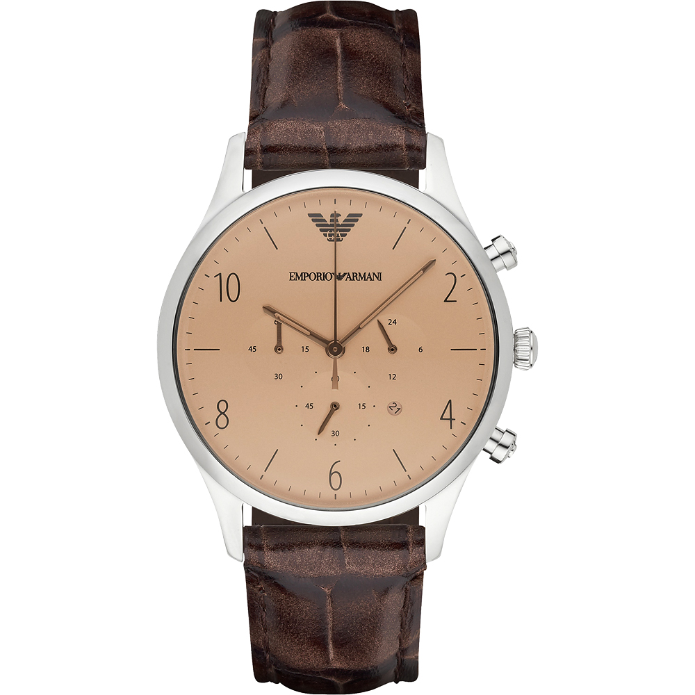 Emporio Armani Classic 紳士復刻經典計時腕錶-香檳金x咖啡/43mm