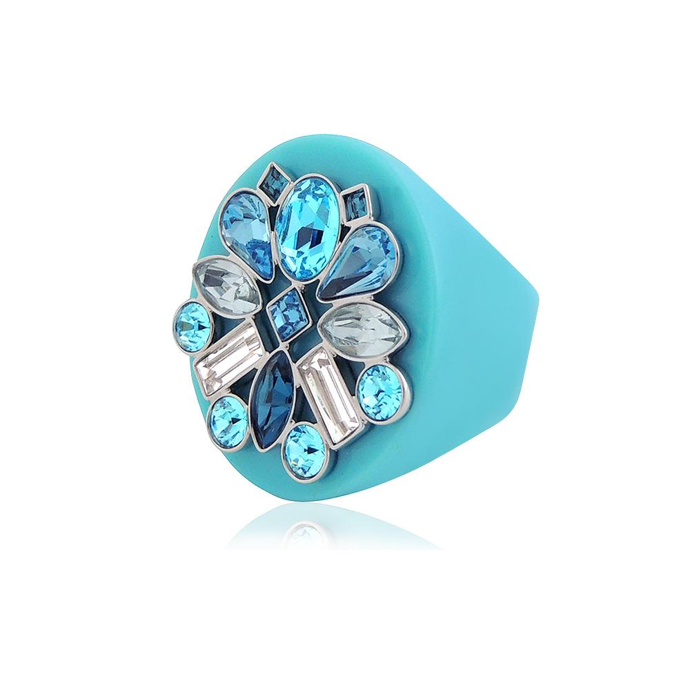 SWAROVSKI土耳其藍色花朵造型晶鑽戒指-M號L號