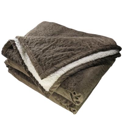 鴻宇HongYew 頂級羊羔絨雕花保暖毯