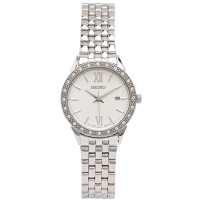 SEIKO 晶鑽銀色系女性手錶(SUR695P1)-銀色X銀色/28mm