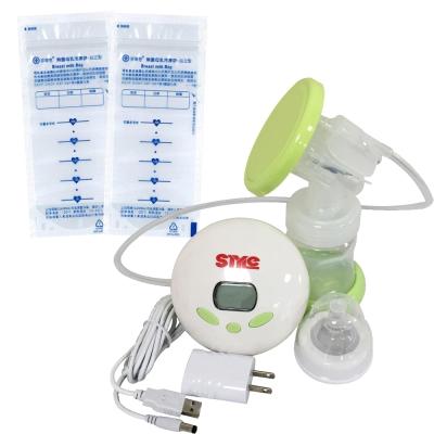 超靜音八段式液晶電動手動吸乳器+芬蒂思 站立型母乳冷凍袋/250ml/60入/贈30抽濕巾