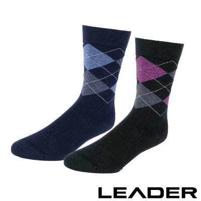LEADER 除臭去味 紳士菱格中筒襪 超值8入