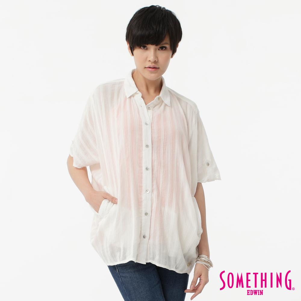 SOMETHING 透感美人 浪漫直紋寬版襯衫-女款(白色)