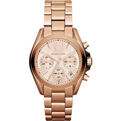 Michael Kors 羅馬假期三眼計時腕錶-玫瑰金