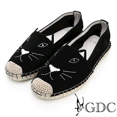 GDC-真皮可愛俏皮趣味貓奴必備時尚休閒鞋-黑色