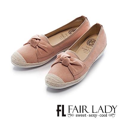 Fair Lady Soft Power軟實力 俏麗蝴蝶結草編休閒鞋 粉