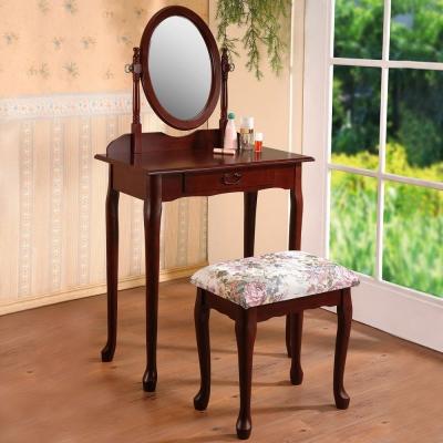 Homelike 古典歐風化妝桌椅組-胡桃色-70x41x129cm