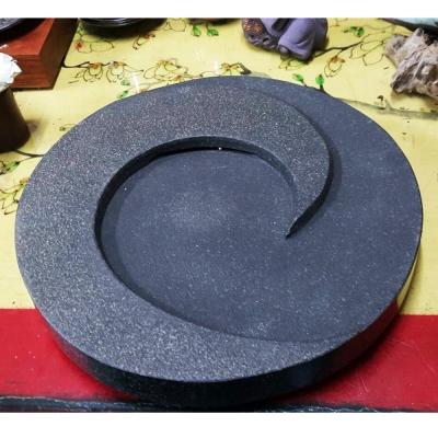原藝坊 太極茶盤-整塊烏金石 (直徑30cm)