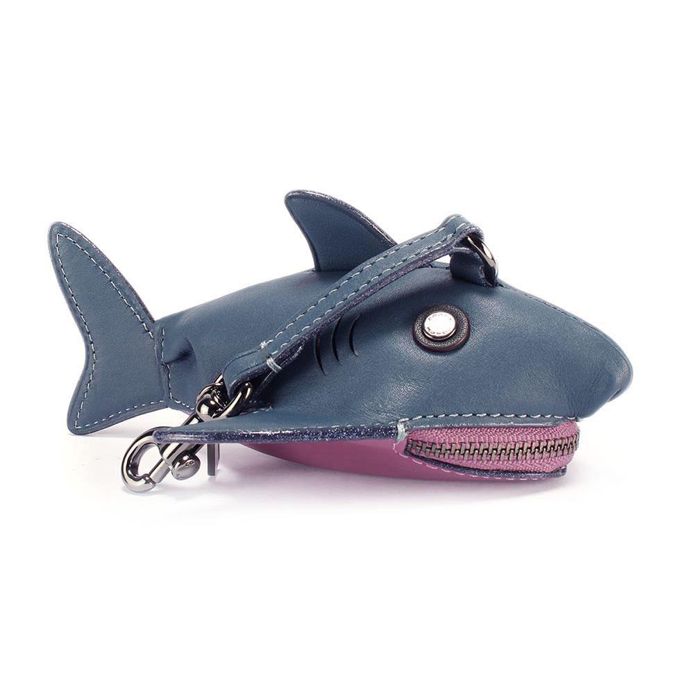 COACH sharky 鯊魚造型皮革吊飾零錢包-藍/粉紫色