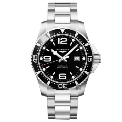 LONGINES浪琴 征服者300米潛水64小時動力儲存機械錶-黑/44mm