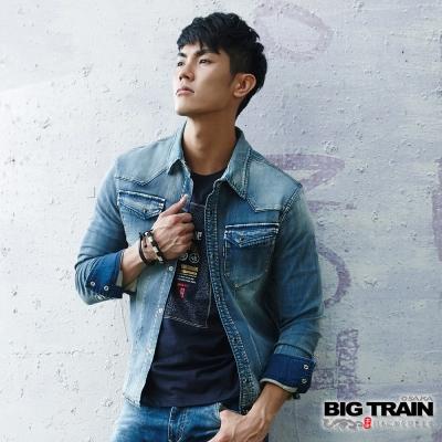 BIG TRAIN 針織牛仔長袖襯衫-男-淺藍