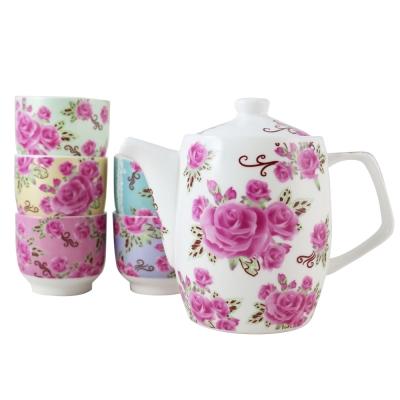 玫瑰花茶具-1壺5杯組