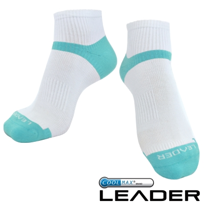 LEADER COOLMAX/除臭/女款機能運動襪 白藍
