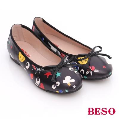 BESO 潮人街頭風 玩味風趣蝴蝶結平底鞋 黑色