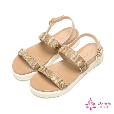 達芙妮DAPHNE-閃耀春色細緻水鑽一字帶平底涼鞋-高雅金