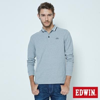 EDWIN 極簡長袖POLO衫-男- 麻灰