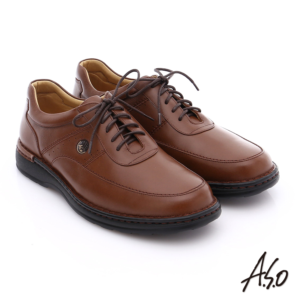 A.S.O 抗震雙核心 油感牛皮綁帶奈米氣墊休閒鞋 茶