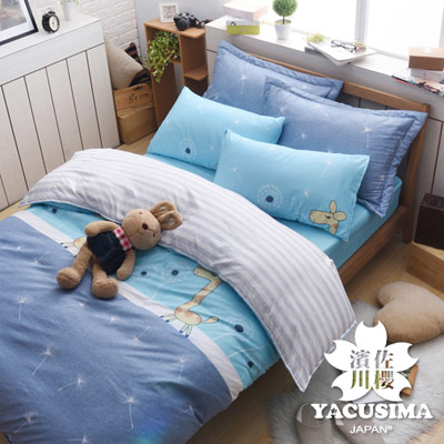 日本濱川佐櫻-童夢小鹿 文青風柔絲絨單人三件式全鋪棉兩用被床包組