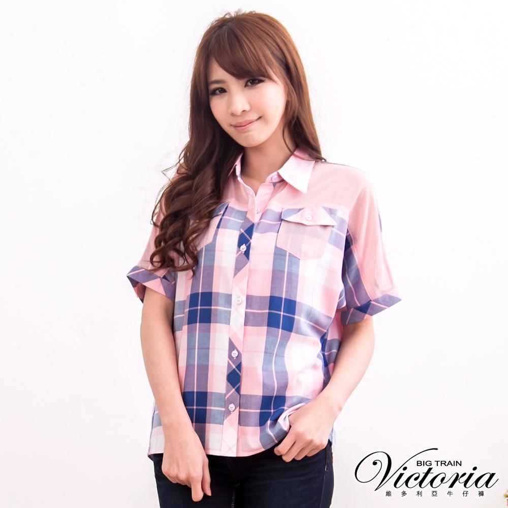 Victoria 飛鼠袖格紋襯衫-女-藍