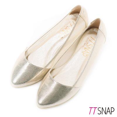 TTSNAP內增高-MIT素面小尖頭透膚網紗平底鞋 金