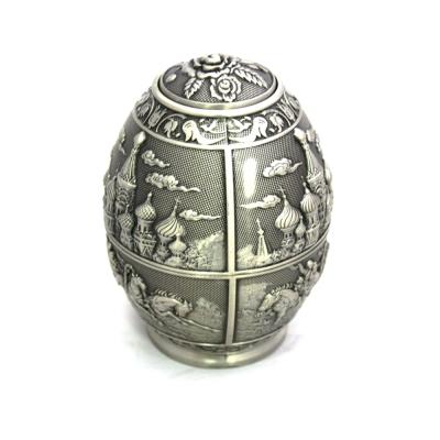 PUSH!餐具俄羅斯彩蛋蛋形錫製牙籤桶