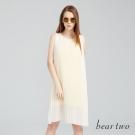 beartwo 氣質百褶造型雪紡無袖洋裝(白色)-動態show