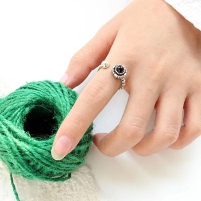 梨花HaNA-韓國925復古銀簡約感黑寶石開口戒指