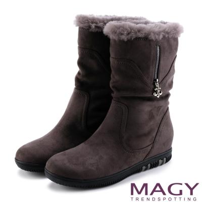 MAGY 暖冬時尚 2WAY抓皺捲毛內增高短靴-灰色