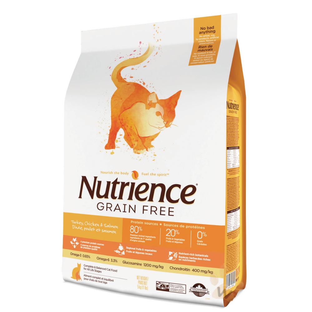 美國Nutrience紐崔斯 無穀火雞鮭魚貓糧 5kg 1入