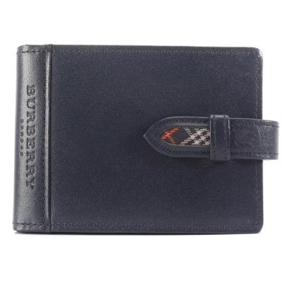 BURBERRY經典飾邊格紋隨身零錢穿扣皮革手帳冊-藍色