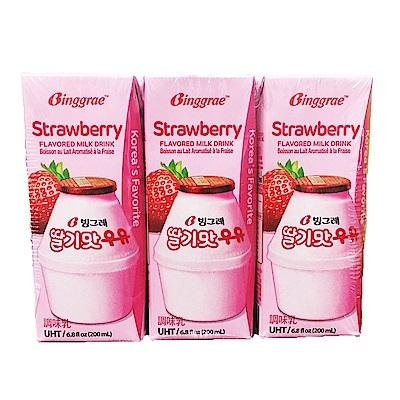 韓味不二 BINGGRAE草莓牛奶(調味乳) (200ml*24瓶)